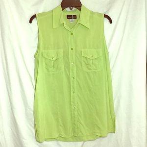 Silk Blouse Button Down Sleeveless Tunic Top Green